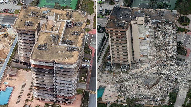 Before and after images show how a huge part of the residential building has now been reduced to pile and bricks and concrete