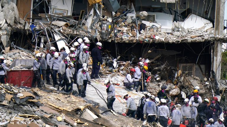 Rescue workers are still working to locate the missing 151 people. Pic: AP