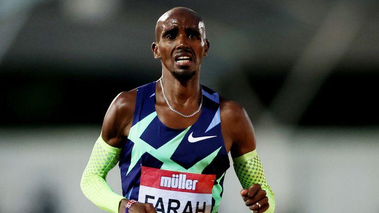 Mo Farah reacts after the Men's 10,000m