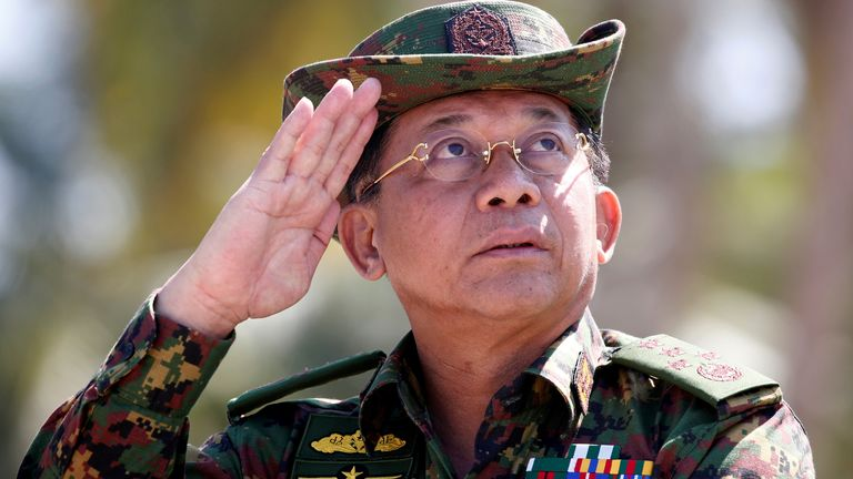 Senior general Min Aung Hlaing is in charge of the military which seized power earlier this year