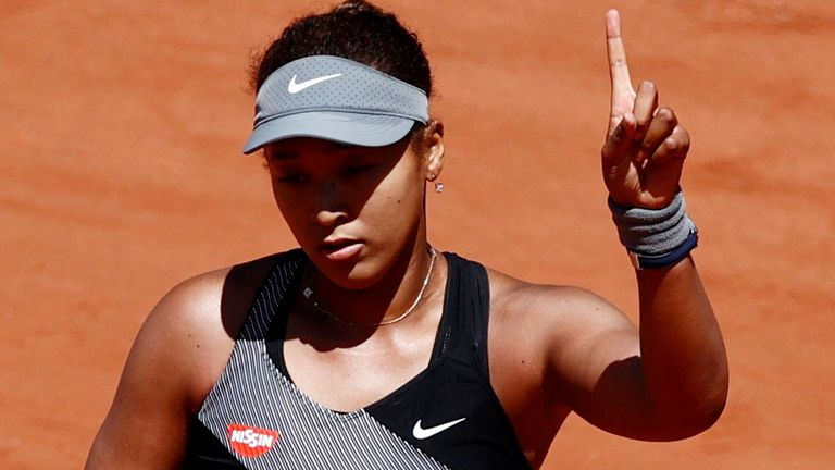 Japan's Naomi Osaka during her first round match at the French Open