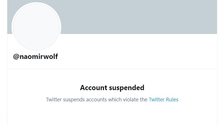 The Twitter account of author Naomi Wolf which has been suspended. Pic: Twitter