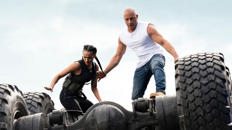 (from left) Ramsey (Nathalie Emmanuel) and Dom (Vin Diesel) in F9, directed by Justin Lin. Pic: AP