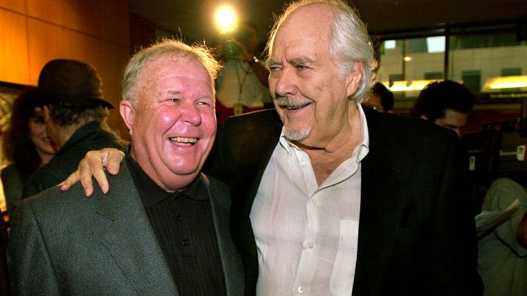 Director and producer Robert Altman (right) with Ned Beatty at the 25th-anniversary screening of Nashville in June 2000. Pic AP