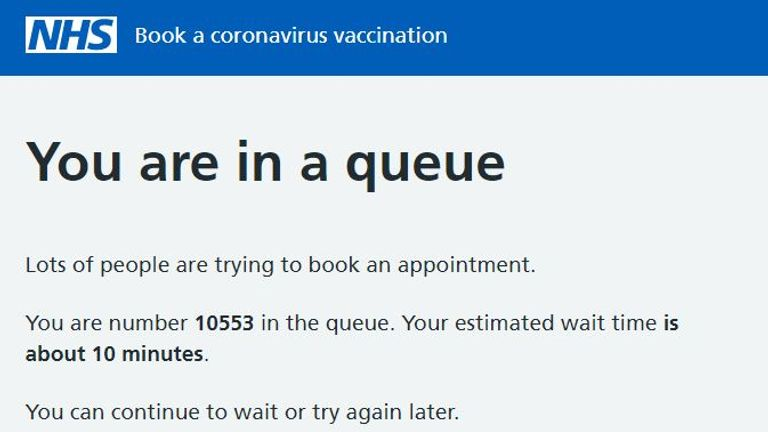The NHS vaccine website has been flooded with attempts to book