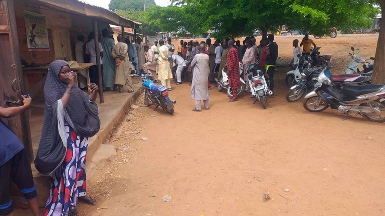 Parents wait for news on the children in Tegina, Nigeria. Pic AP