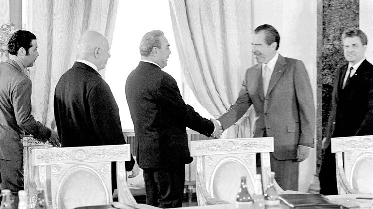 Richard Nixon and Soviet Communist Party leader Leonid Brezhnev (center) in Moscow in 1972. Pic AP