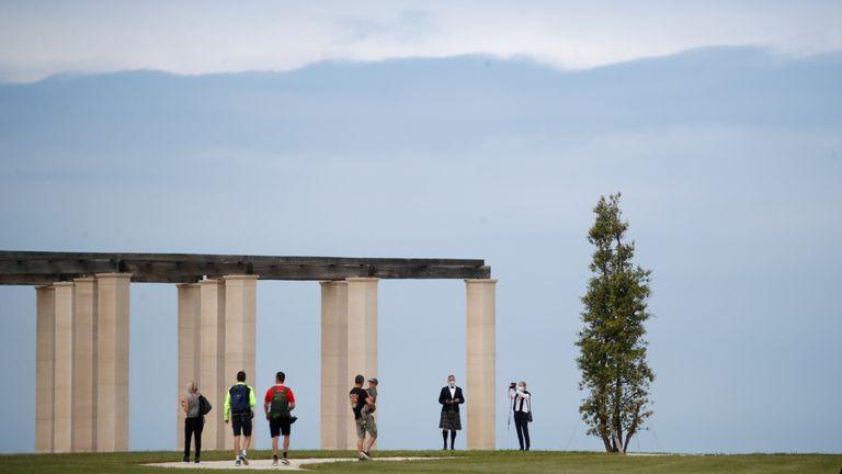 People visit the new British Normandy Memorial at Ver-sur-Mer