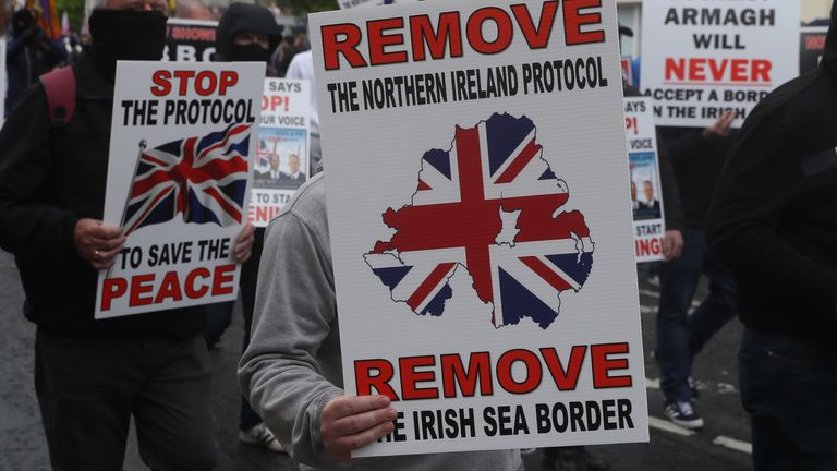 Loyalists take part in an anti-Northern Ireland Protocol rally in Portadown, Co Armagh