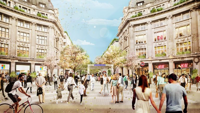 An image issued by Westminster City Council showing how the pedestrianised area around Oxford Circus should look when completed