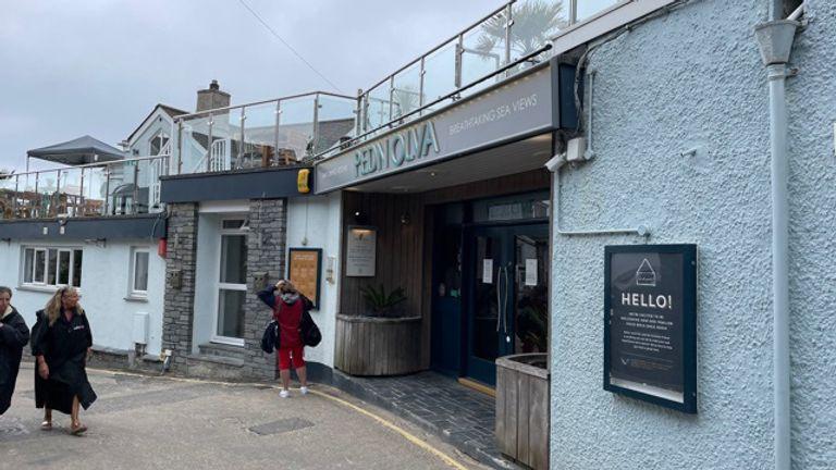 People walk outside the Pedn Olva hotel in St Ives