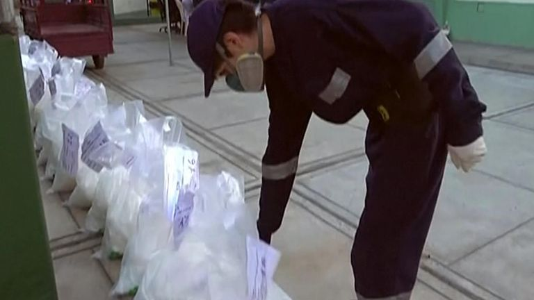 Authorities in Peru destroyed over 30 tons of illicit drugs on Wednesday (June 16), the largest number of narcotics incinerated in the country's history.