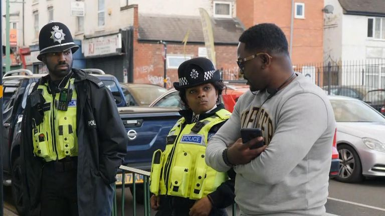 Police interacting with community in Birmingham