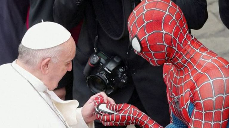 The Pope meets Spiderman