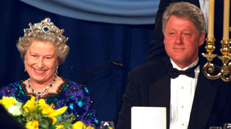 The Queen sits beside Bill Clinton at the Guildhall in Portsmouth in June 1994. Pic: AP