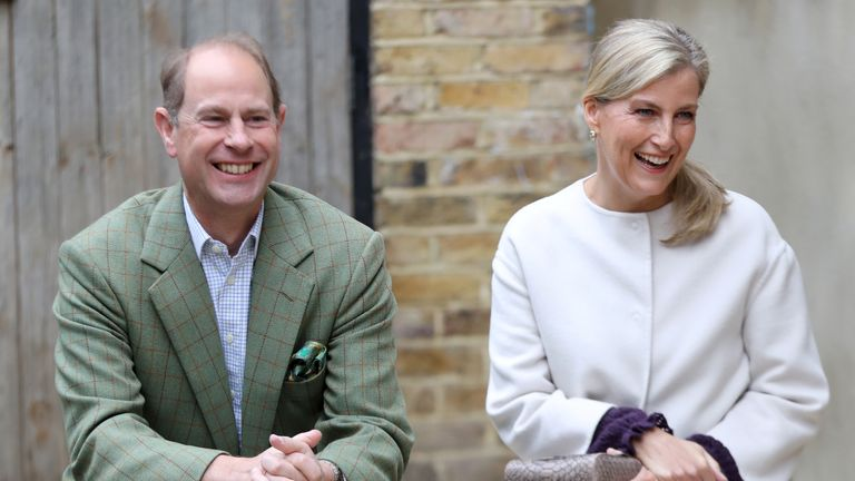 Britain's Prince Edward and Sophie, Countess of Wessex visit Vauxhall City Farm's community engagement and education programmes