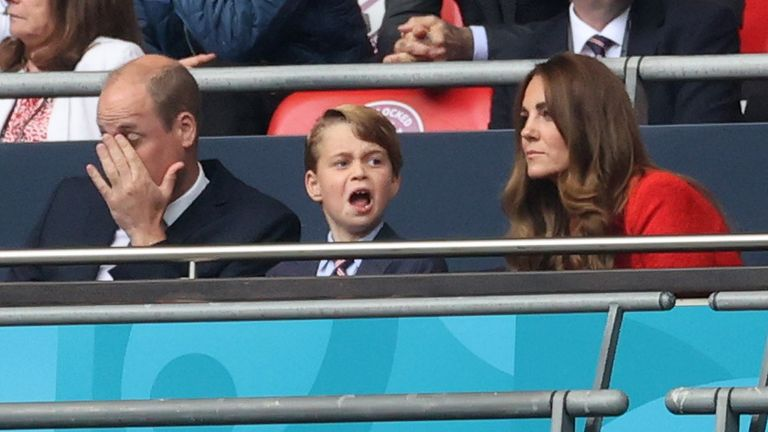 The Duke and Duchess of Cambridge watch them game with Prince George