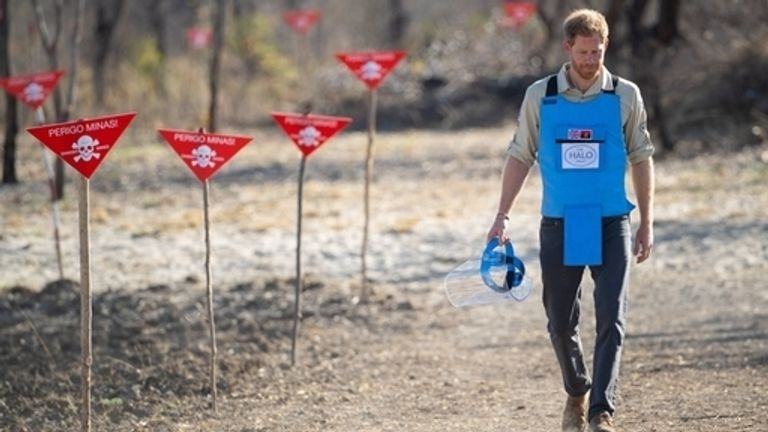 Prince Harry recreates his mother's famous walk through an Angolan minefield in 2019
