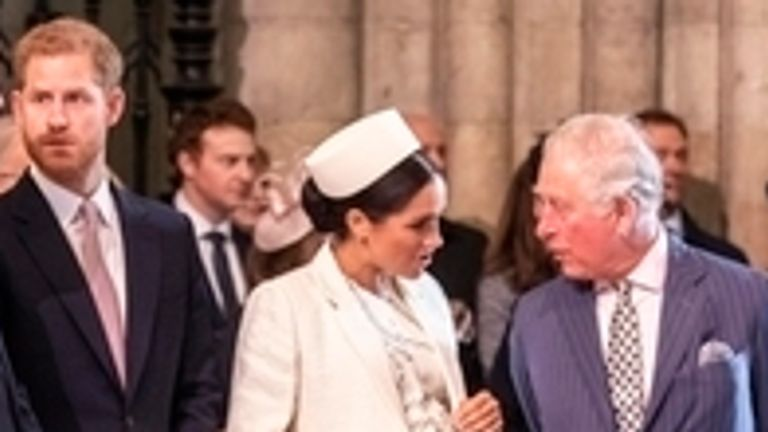 Harry and Meghan with Charles at the Commonwealth Service at Westminster Abbey, London, in 2019. Pic: Richard Pohle/The Times/PA Archive/PA Images