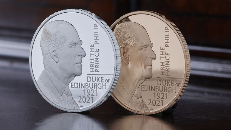 Silver and gold £5 coins commemorating the life of Prince Philip, the Duke of Edinburgh, unveiled by Chancellor Rishi Sunak on Armed Forces Day, 26 June 2021
