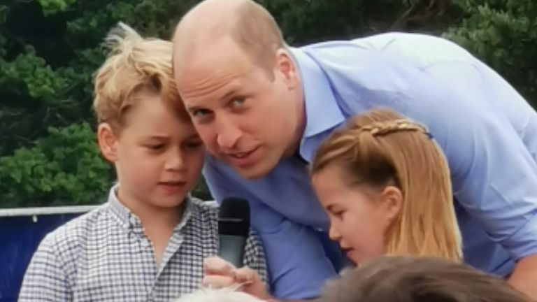 Prince William, with his two eldest children, at Sandringham Estate