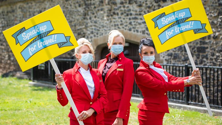 Virgin cabin crew were among those protesting outside parliament