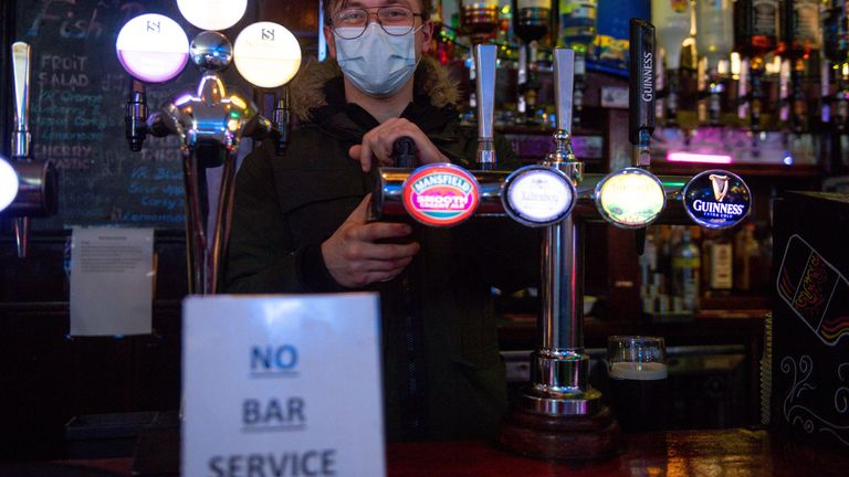 Bar staff at the The Oak Inn in Coventry, West Midlands, as indoor hospitality and entertainment venues reopen to the public following the further easing of lockdown restrictions in England. Picture date: Monday May 17, 2021.