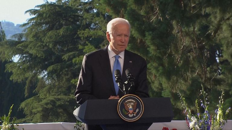US President Joe Biden delivers a press conference after meeting with Russian President Vladimir Putin