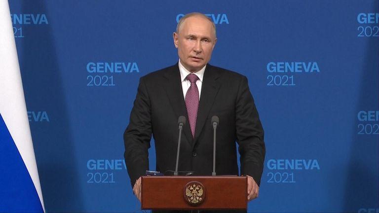 Russian President Vladimir Putin speaks after meeting with US President Joe Biden