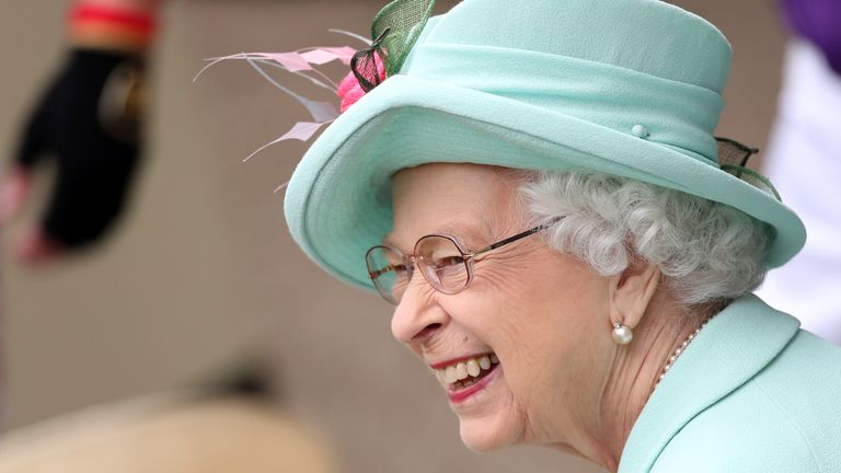 Queen Elizabeth II smiles during day five of Royal Ascot at Ascot Racecourse. Picture date: Saturday June 19, 2021.