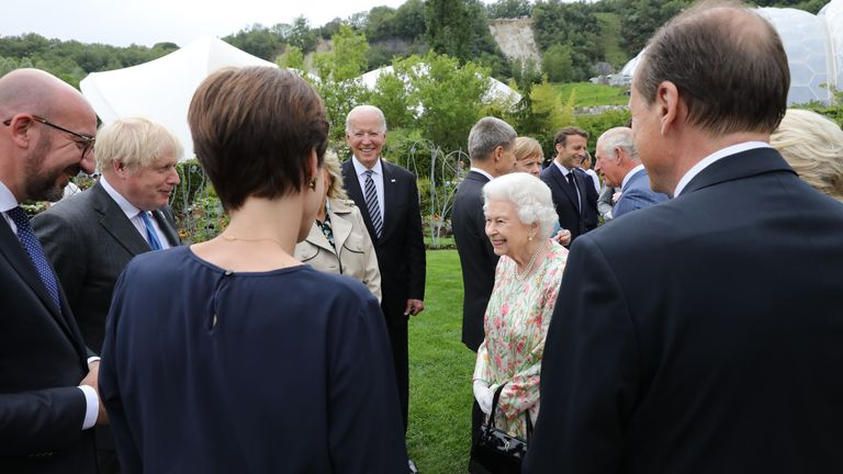 Queen Elizabeth II attends a reception at the Eden Project with Prime Minister Boris Johnson and G7 leaders, during the G7 summit in Cornwall. Picture date: Friday June 11, 2021.