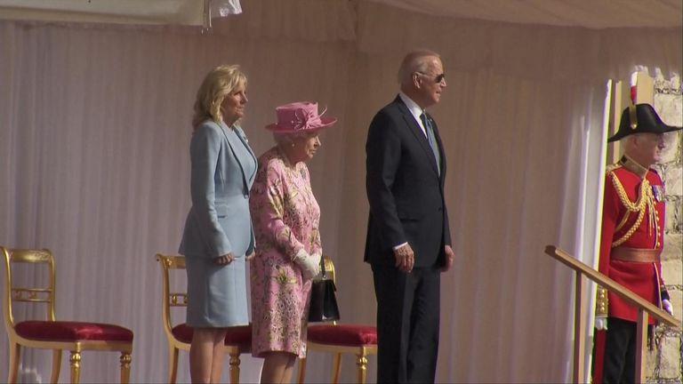 The Bidens met the Queen in Windsor Castle's quadrangle before going for tea