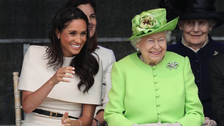 The Queen and the Duchess of Sussex at an event in Widnes, Cheshire in June 2018