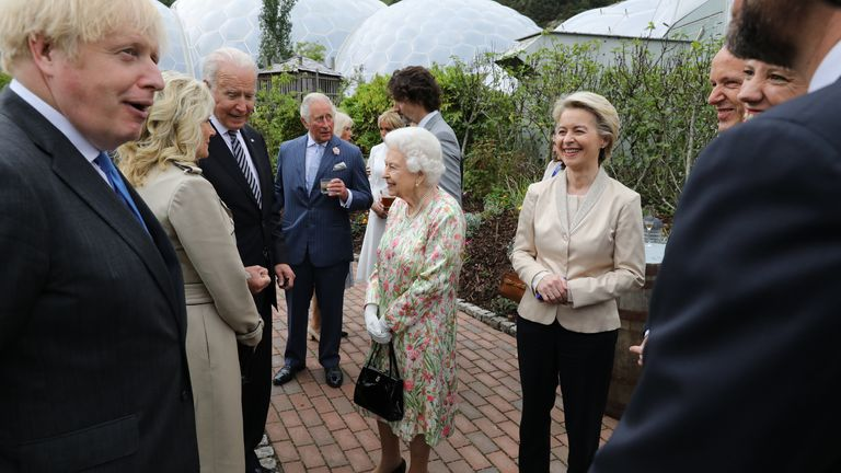 The Queen speaks to Joe and Jill Biden as they attend a reception at the Eden Project for G7 leaders, including Boris Johnson