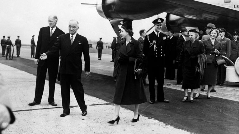 Princess Elizabeth and the Duke of Edinburgh are greeted by Harry Truman in Washington DC in 1951