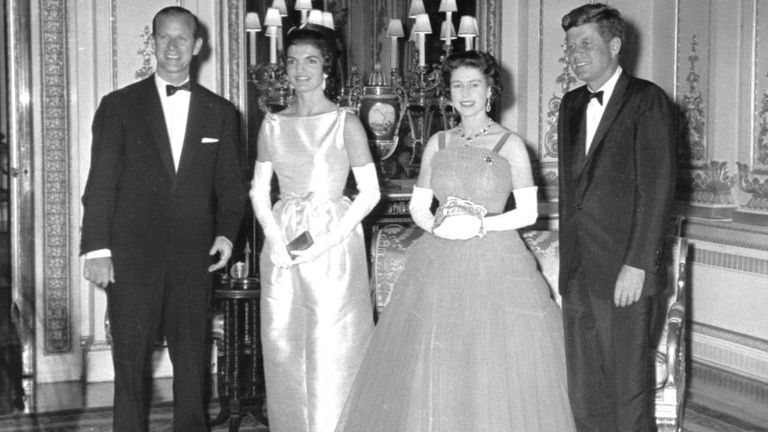 The Queen poses with John and Jackie Kennedy in June 1961. Pic: AP