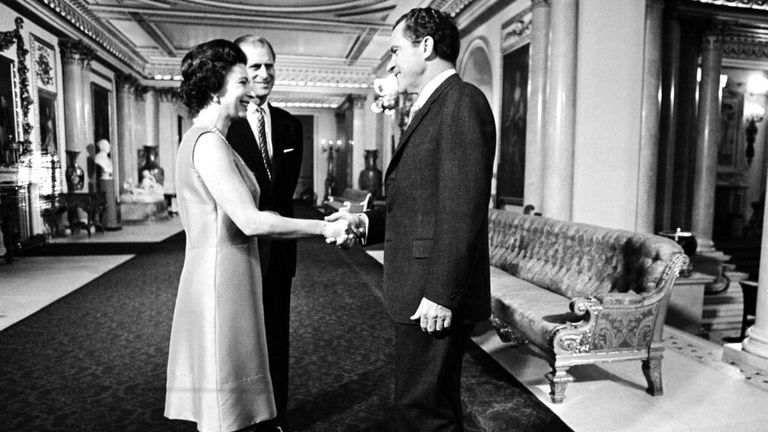 The Queen meets Richard Nixon in February 1969 at Buckingham Palace.Pic: AP