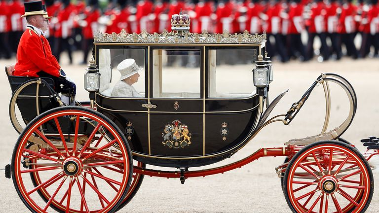 Queen Elizabeth takes part in the Trooping the Colour parade in 2019