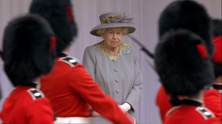 Mini Trooping the Colour takes place for Queen's birthday in Windsor Castle