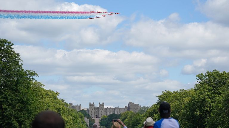 A fly-past above Windsor Castle by the Red Arrows for the Queen's official birthday