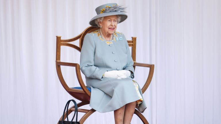 For some of the ceremony, the Queen was able to sit down