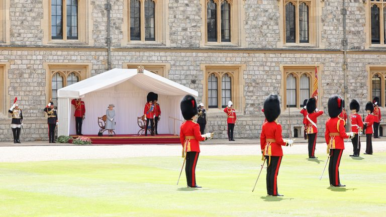 The Queen took a seat in front of the parading troops