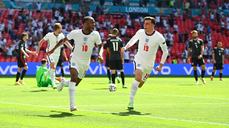 Raheem Sterling (L) celebrates his second-half goal
