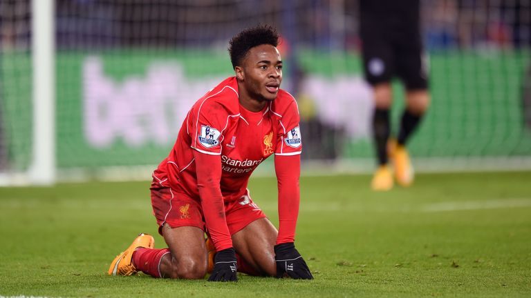 Sterling playing for Liverpool in 2014