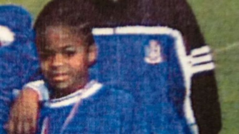 Raheem Sterling pictured with his former football coach Paul Lawrence. Pic: Paul Lawrence