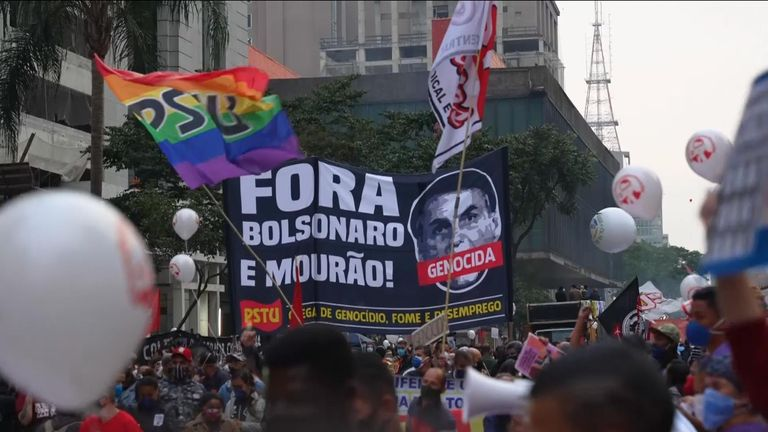 Anti-Bolsonaro protesters march in Sao Paulo, Brazil.