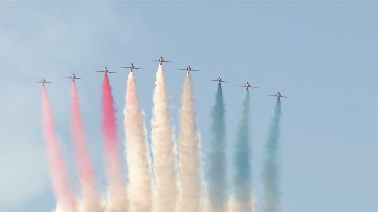 The UK's Red Arrows fly over Carbis Bay for the G7 Summit