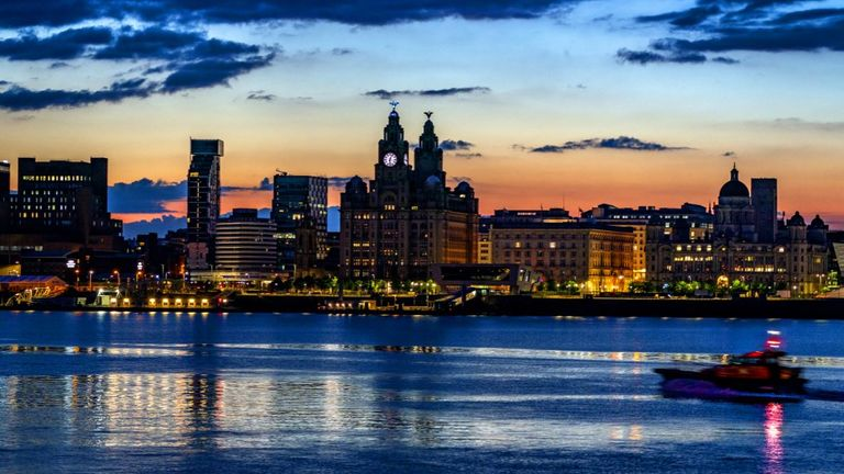 The Liverpool waterfront across the River Mersey