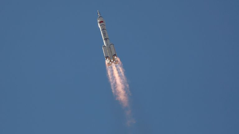 The three astronauts blasted off at 2.22am UK time