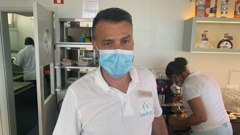 Rogerio Martins runs the Casa de Praia beach bar in Vilamoura
